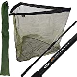NGT 42' INCH CARP FISHING LANDING NET 2M HANDLE WITH STINK BAG - Black & Green With a Deluxe Feel...