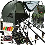 DNA Complete Carp Fishing Set up with Shelter Bivvy Rods Reels Alarms Net & Tackle (2-Rod Setup)