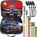 Bison Gear Premium Quality Bungee Cords With Hooks - 28 Piece Set - Heavy Duty UV resistant Straps...