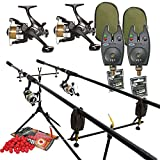 Full Carp Fishing Set Up Rods Reels Bite Alarms Rodpod PLUS 4 PACKS OF BOILIES