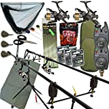 Full Carp fishing Set Up Complete With 2x Rods Reels Alarms Landing Net & Tackle