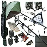 OAKWOOD Carp fishing Set Up With Rods Reels Alarms Net Holdall Bait Bivvy & Tackle 2 WAY
