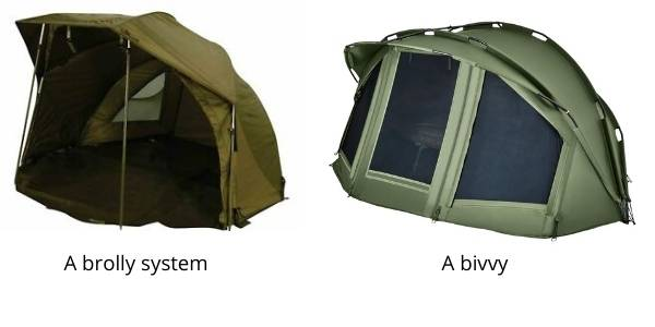 difference between a brolly system and bivvy